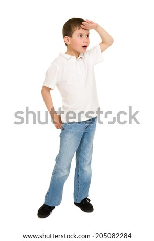 boy look into the distance on white - stock photo