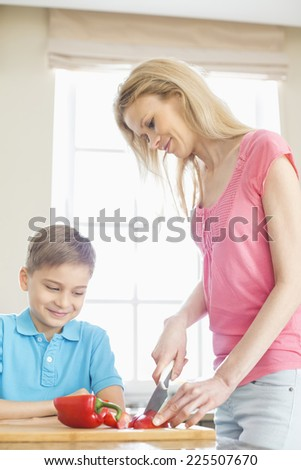 Boy looking at mother slicing red bell pepper in kitchen - stock photo