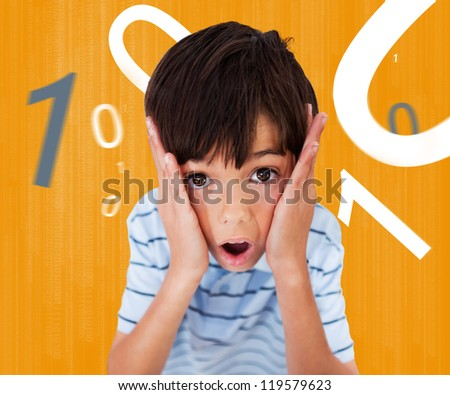 Boy looking scared against orange background with numbers