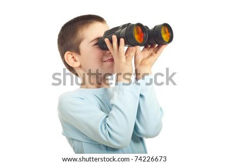 Boy looking through binocular isolated on white background - stock photo