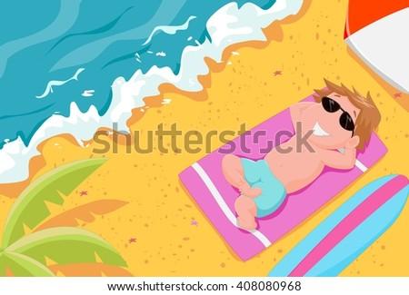 boy lying on the beach wearing sunglasses - stock photo
