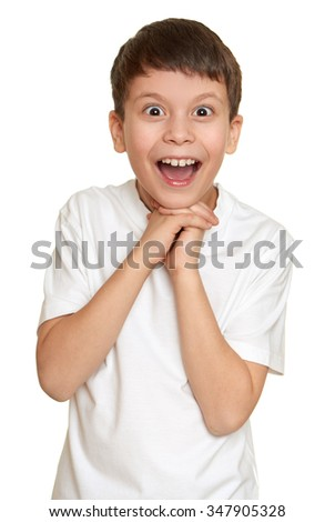 boy make faces, teenager fun portrait closeup - stock photo