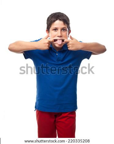 boy mocking - stock photo