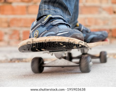 boy moves on a skate board