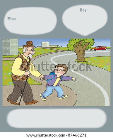 cross road art boy offers his grandfather cross road stock illustration 87466271