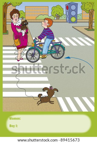 boy on a bicycle turned on green light, correct? - stock photo