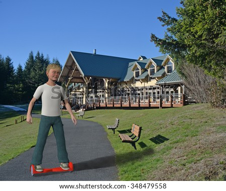 boy on a hoverboard on a walkway path