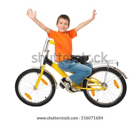 boy on bicycle isolated on white - stock photo
