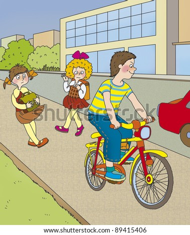 Boy on bike rides quickly along the sidewalk, correct? - stock photo