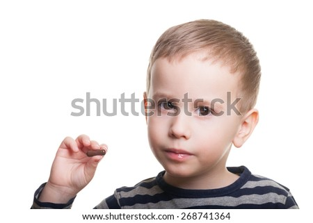 Boy on isolated white asks whenever you took your medicine today - stock photo