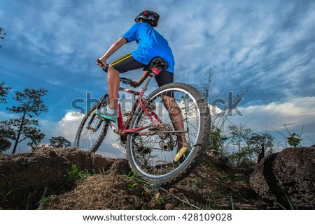 Boy on mountain bike