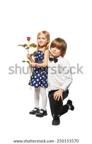 Boy on one knee gives a girl a rose on a white background - Boy propose girl with rose image ...