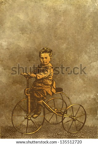 boy on retro bicycle. engraving style. raster version. vector available in my portfolio - stock photo