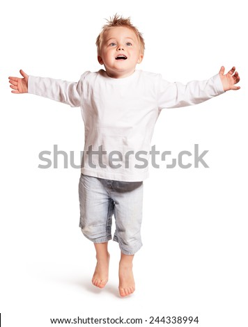 BOY ON WHITE BACKGROUND - stock photo
