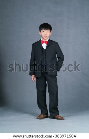 boy or asian little boy standing on background - stock photo