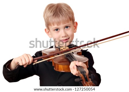 boy play violin portrait on white - stock photo