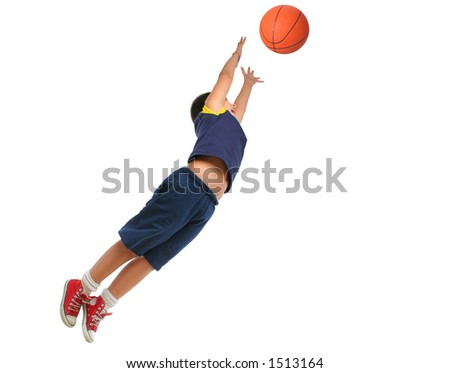 Boy playing basketball isolated. Flying and jumping. From my sport series. - stock photo