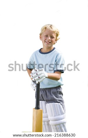 Boy playing cricket, smiling, portrait, cut out - stock photo