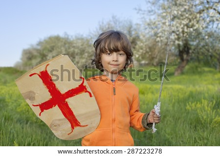 boy playing in the medieval knight - stock photo