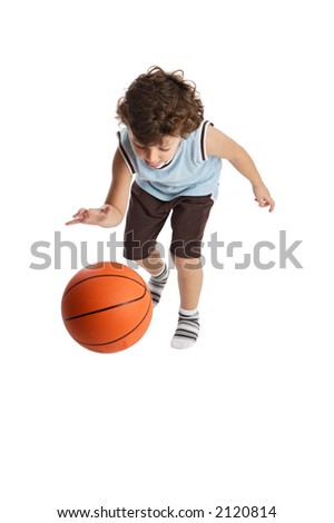 boy playing the basketball with the white bottom