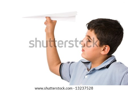 boy playing with paper plane