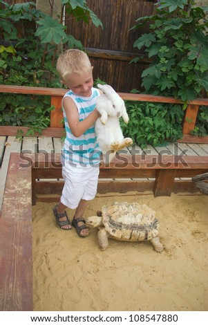 Boy playing with white rabbit and big turtle in sandbox - stock photo