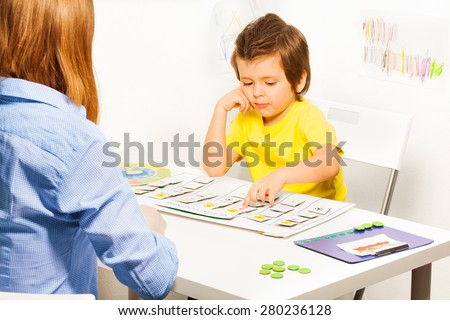Boy points day activities cards - stock photo