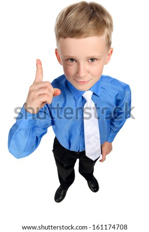 boy points finger isolated on white background