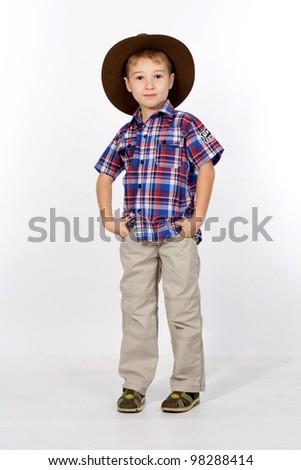 boy, portrait, studio - stock photo