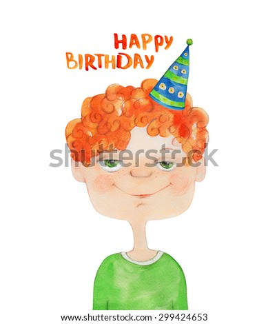 Boy Portrait with red curly hair in party hat. Happy birthday. Watercolor illustration. Hand drawing