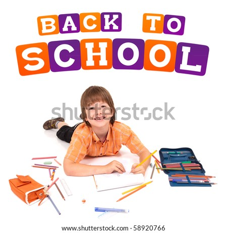 boy posing for back to school theme over white background