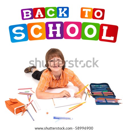 boy posing for back to school theme over white background - stock photo