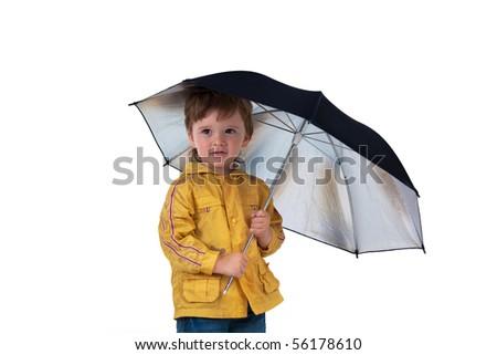 Boy posing with umbrella on a white background - stock photo