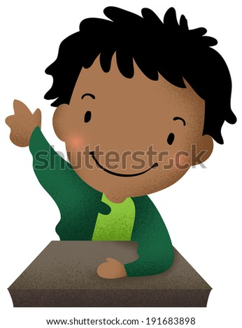 Boy raising hands. Used for classroom rules. - stock photo