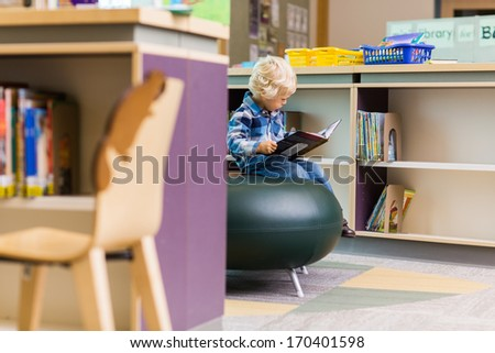 Boy reading book in library of the elementary school