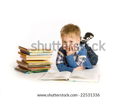 boy reading book; isolated on white