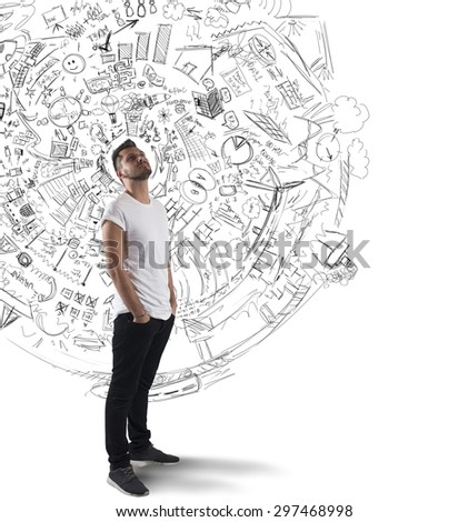 Boy reflects on plans and future projects - stock photo