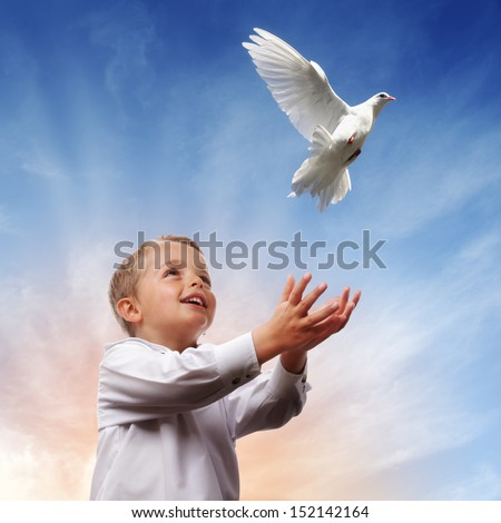 Boy releasing a white dove into the air concept for freedom, peace and spirituality - stock photo