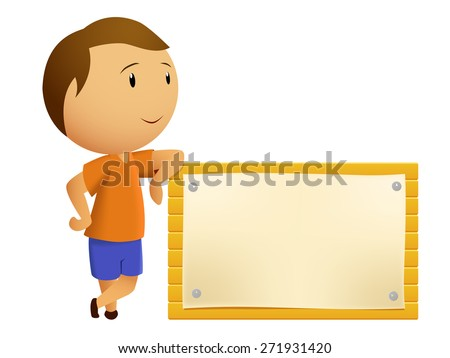 Boy resting with Blank wooden billboard isolated on white - stock photo