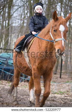 Boy rider on the saddle horse riding around the manege in the woods - stock photo