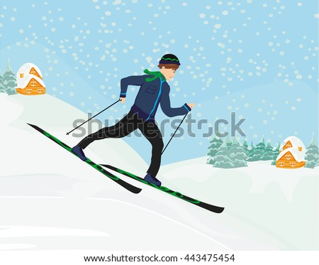 boy rides on skis in winter day - stock photo