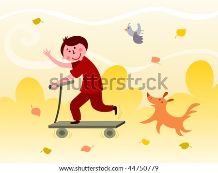 Boy riding a scooter - raster - stock photo