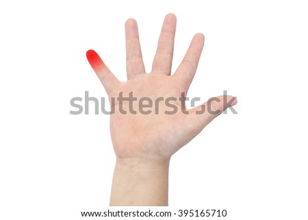 Boy's hand with a red little finger