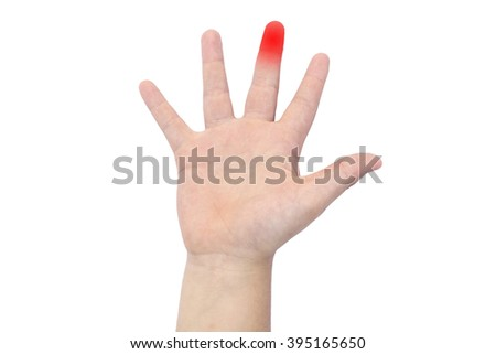 Boy's hand with a red middle finger
