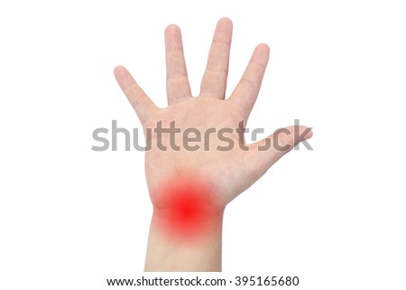 Boy's hand with a red wrist - stock photo