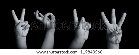 boy's hands forming number 2013 - stock photo