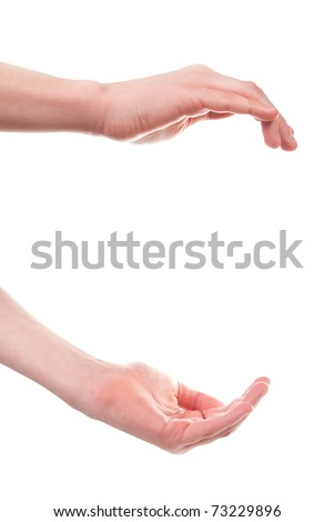 Boy's hands open. Isolated on white background - stock photo