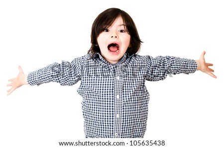 Boy screaming with arms open - isolated over a white background - stock photo