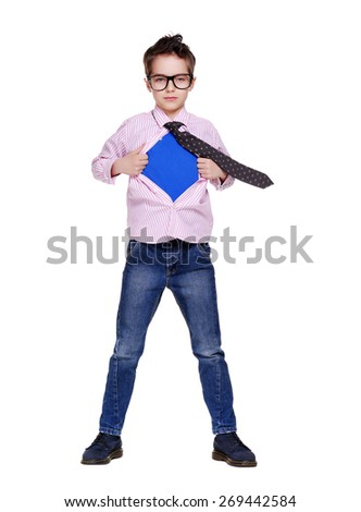 boy secret super hero full length - stock photo