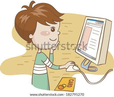 Boy shopping on-line - stock photo